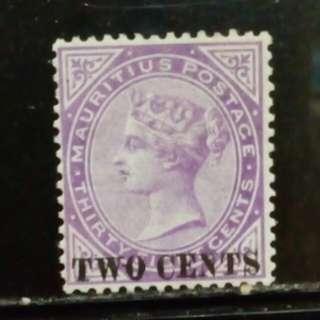 [lapyip1230] 英屬毛里求斯 1891年 維多利亞 38仙改貳仙 原膠新票 Mint