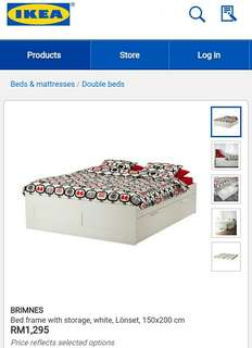 BRIMNES bed frame with storage,lonset,150cmx200cm