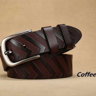 Mens belt Quality genuine leather Titanium buckle up to 37 waistline #5678