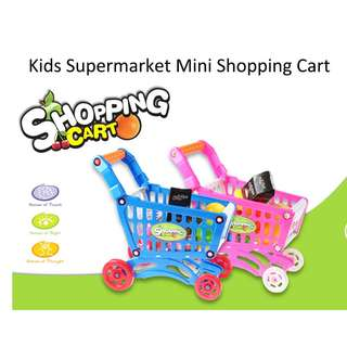 💯 Kids Supermarket Mini Shopping Cart Full Grocery Food Play House Toy Playset