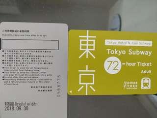 東京Tokyo subway  2 adult tickets 72 hours
