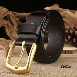 Mens belt Quality genuine leather gold buckle up to 37 waistline #2356