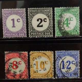 [lapyip1230] 英屬海峽殖民地(星嘉坡馬來亞) 1924年 欠資票 舊票全套 VFU