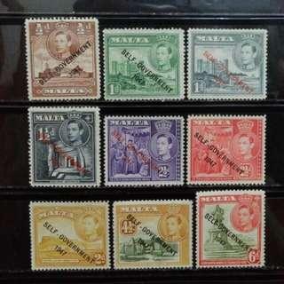 [lapyip1230] 英屬馬爾他 1947年 喬治六世 自治政府加蓋票 新票全份 Mint