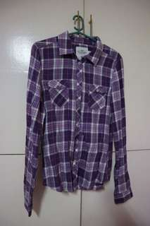 h&m purple checkered flannel