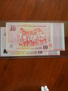 Sg50 $10 Identical number pair
