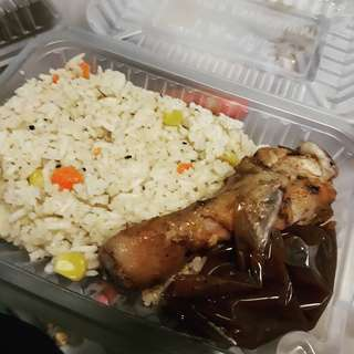 Butter rice with roasted chicken
