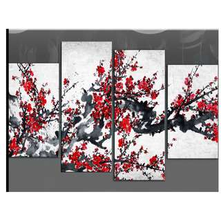 Red Flower Tree White Background Oil Painting 4 Piece Set
