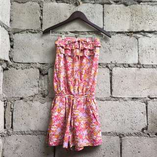 Floral Tube Top Romper with Pockets