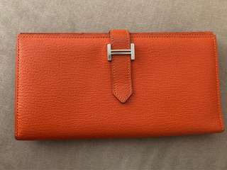 Hermes Cherve Wallet Orange