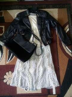 Promo!!! Jaket kulit+dress brukat