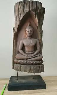 Vintage Buddha Mediation Crafted from aged Teak Wood