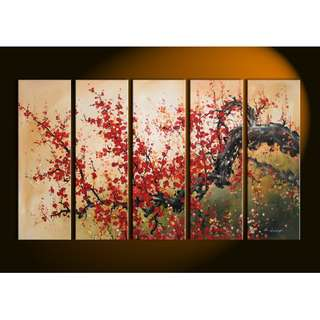 Red Tree Brown Oil Painting Panel 5 Piece Set