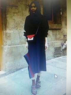 🚚 韓 超氣質不規則裙襬條紋拼接休閒連身裙洋裝
