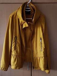 ZARA Basic Outerwear Yellow Windbreaker Jacket XL