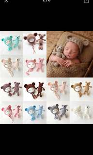 2018 New Knit Beanie Cap+ Bear Toy Newborn Baby Toddler infant Bear Photo Prop Photography Baby Knitted Cap