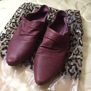 紅色 尖頭 真皮鞋 平底鞋