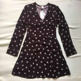 FREE SHIPPING! H&M Dark Plum Patterned Dress