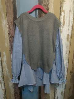 🚚 韓 兩件式灰色背心+直條紋荷葉下襬長上衣