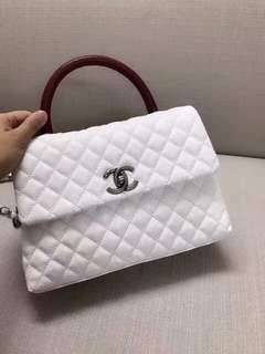 CHANEL COCO FLAP BAG WITH LIZARD TOP HANDLE
