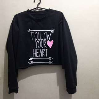 Long sleeve crop top (Black)