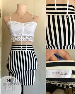 Striped fitted skirt