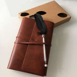 Leather Vintage Notebook + Feather Pen