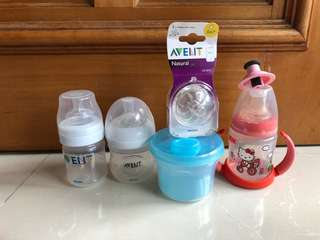 Milk bottles avent, gift with purchase of nuk hello kitty toddler sippy cup