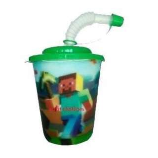 MINECRAFT PARTY PLASTIC TUMBLER CUP with COVER & STRAW
