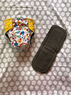 Over The Rainbow Bamboo Charcoal Cloth Diaper with 2 Bamboo Charcoal Inserts & 100 Bamboo Nappy Liner