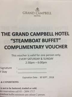 2 x The Grand Campbell Hotel Steamboat Buffet Voucher