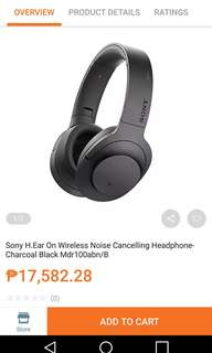 Sony H.ear on Wireless Headphone HiFi Bluetooth Noise Cancelling Black MDR-100