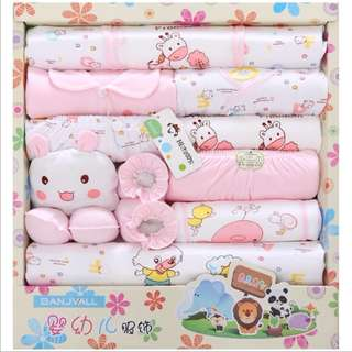 18 Sets of Cotton Baby Clothes Spring Newborn Gift Articles Full Moon Baby Suit Pink
