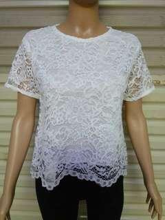 blouse brukat 9017 putih  Js