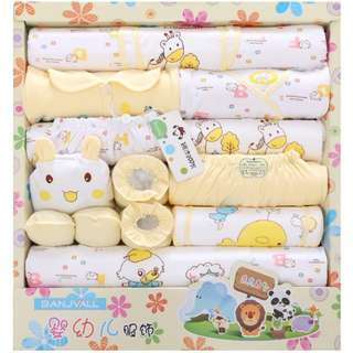 18 Sets of Cotton Baby Clothes Spring Newborn Gift Articles Full Moon Baby Suit Yellow