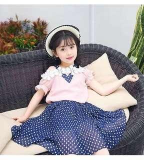 Korean kid dress freesize 4-9yrs old