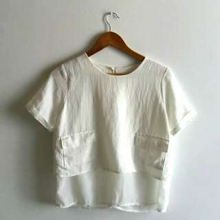 White Linen Top with Pockets