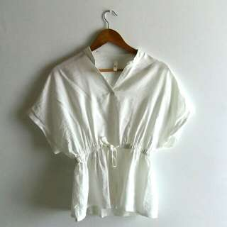 White Drawstring Top