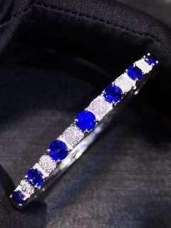 18K白金 天然斯里蘭卡藍寶石鑽石手鐲
