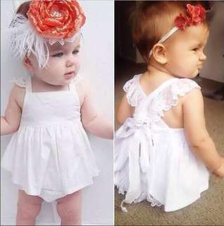Instock - 2pc white angel set, baby infant toddler girl children sweet kid happy abcdefgh so pretty