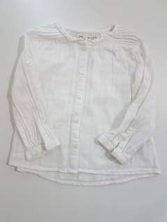White Shirt with Roll-up sleeves for Girls by Zara
