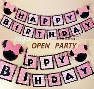 Happy Birthday Banner - Minnie Mouse Theme