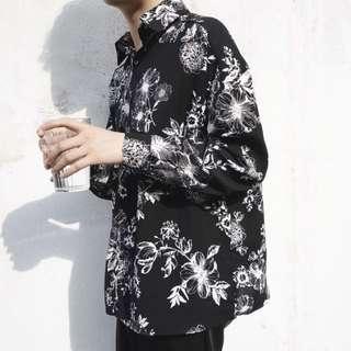 韓風復古花卉花襯衫