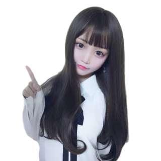 Wig Panjang Hitam Murah - Rambut Palsu Lurus Ombak Natural Black