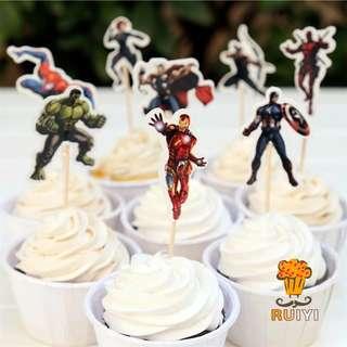 Cake Topper - The Avengers/Superheroes Theme (24 pcs)
