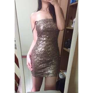 KITSCHEN Gold Sequin Bandeau Tube Dress