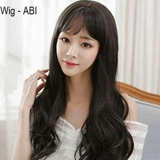 Wig Panjang Hitam Murah Rambut Palsu Panjang Curly Poni Hitam Natural