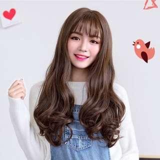 Wig Panjang Murah Rambut Palsu Gelombang Curly Dark Brown Coklat