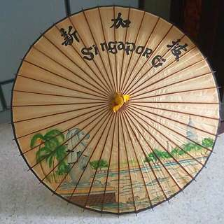 40yo fine painting Lacquered bamboo Umbrella. Singapore Heritage
