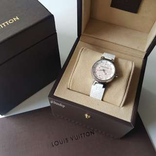 Authentic Louis Vuitton Lovely Diamond Snow Tambour Quartz Watch LV